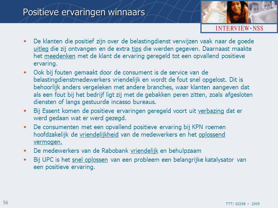 TTT/ 62298 – 2005 56 Positieve ervaringen winnaars  De klanten die positief zijn over de belastingdienst verwijzen vaak naar de goede uitleg die zij