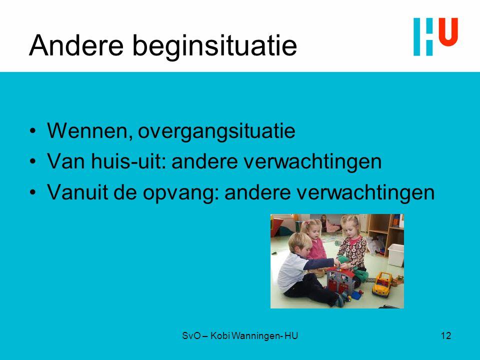 Andere beginsituatie Wennen, overgangsituatie Van huis-uit: andere verwachtingen Vanuit de opvang: andere verwachtingen SvO – Kobi Wanningen- HU12