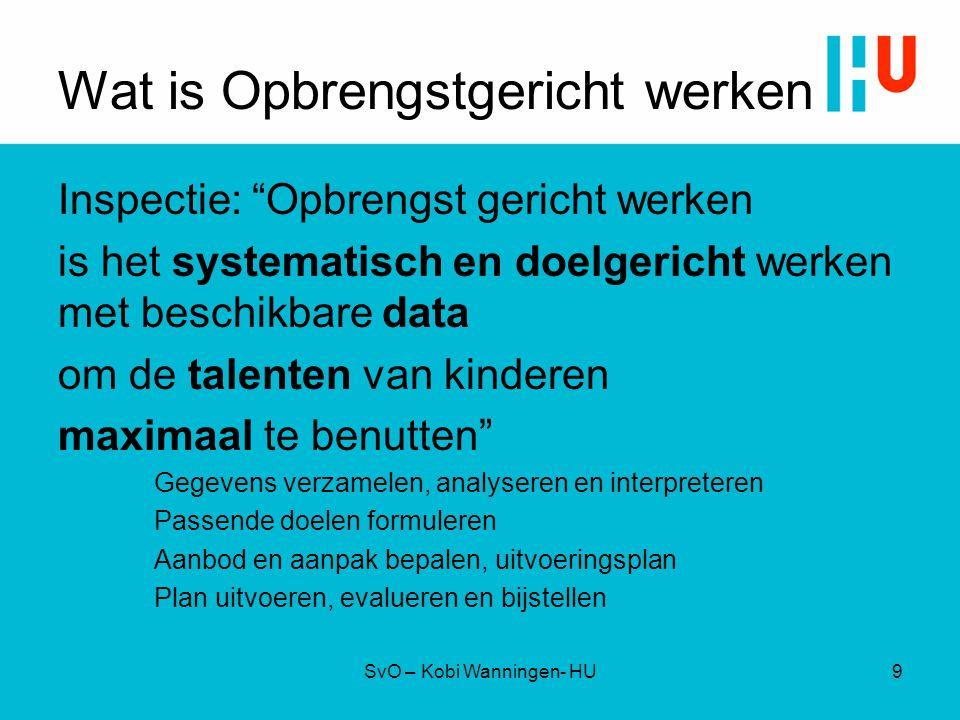 """Wat is Opbrengstgericht werken Inspectie: """"Opbrengst gericht werken is het systematisch en doelgericht werken met beschikbare data om de talenten van"""