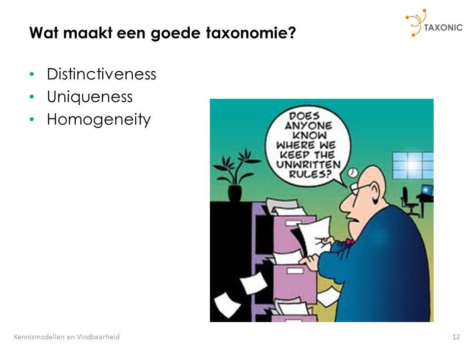 12Kennismodellen en Vindbaarheid Wat maakt een goede taxonomie? Distinctiveness Uniqueness Homogeneity