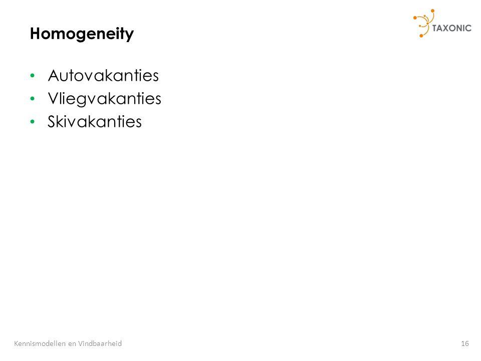 16Kennismodellen en Vindbaarheid Homogeneity Autovakanties Vliegvakanties Skivakanties