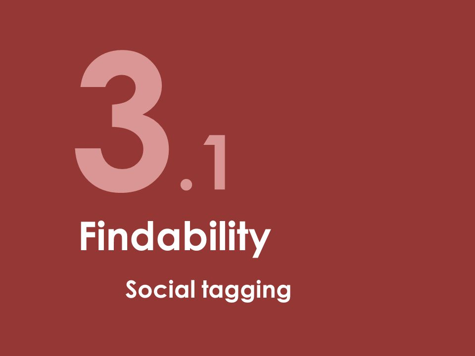 3.1 Findability Social tagging