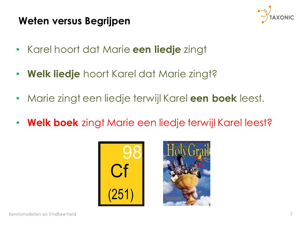 7Kennismodellen en Vindbaarheid Weten versus Begrijpen Karel hoort dat Marie een liedje zingt Welk liedje hoort Karel dat Marie zingt? Marie zingt een