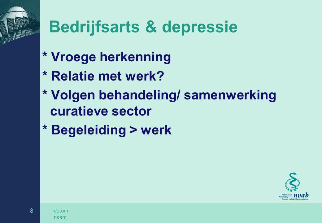 datum naam 8 Bedrijfsarts & depressie * Vroege herkenning * Relatie met werk? * Volgen behandeling/ samenwerking curatieve sector * Begeleiding > werk