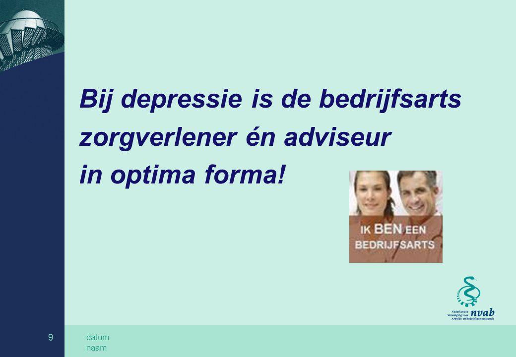 datum naam 9 Bij depressie is de bedrijfsarts zorgverlener én adviseur in optima forma!