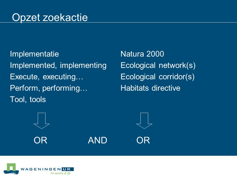 Opzet zoekactie Implementatie Implemented, implementing Execute, executing… Perform, performing… Tool, tools Natura 2000 Ecological network(s) Ecological corridor(s) Habitats directive OR AND