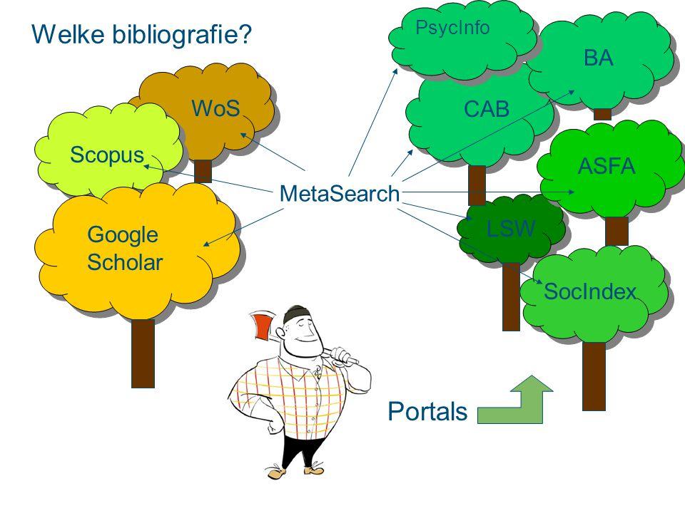 WoS Scopus CAB BA ASFA LSW SocIndex PsycInfo Google Scholar Portals MetaSearch Welke bibliografie?
