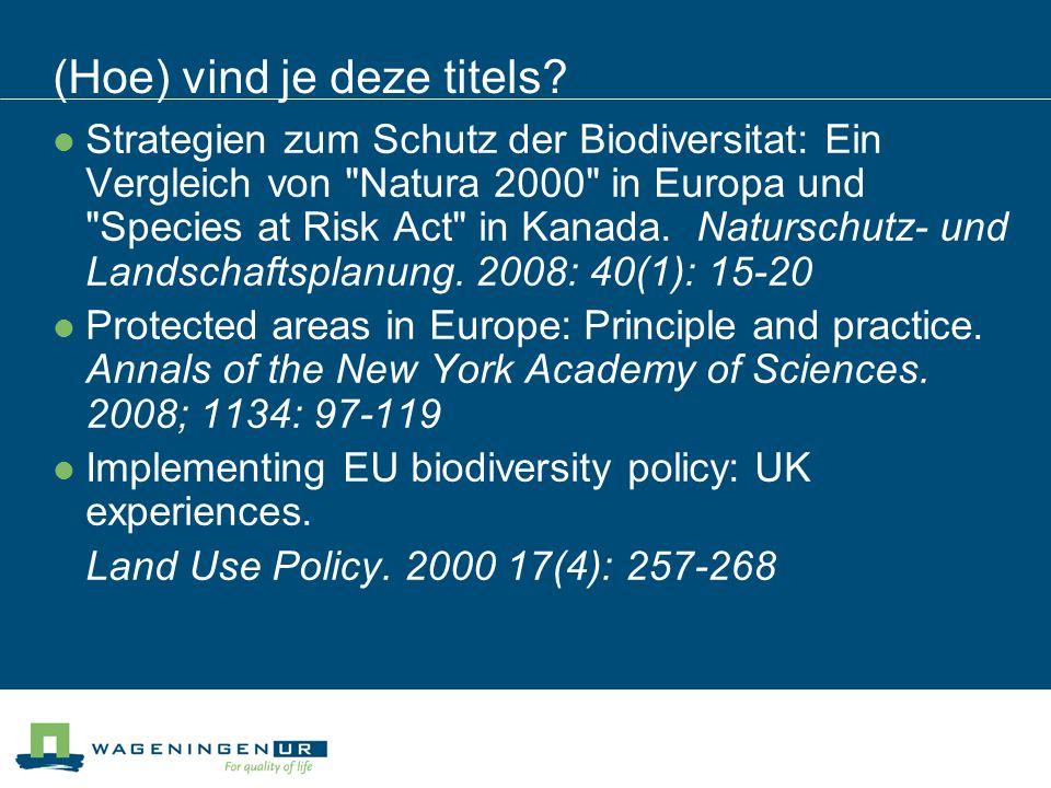 Titel 1 Strategien zum Schutz der Biodiversitat: Ein Vergleich von Natura 2000 in Europa und Species at Risk Act in Kanada.