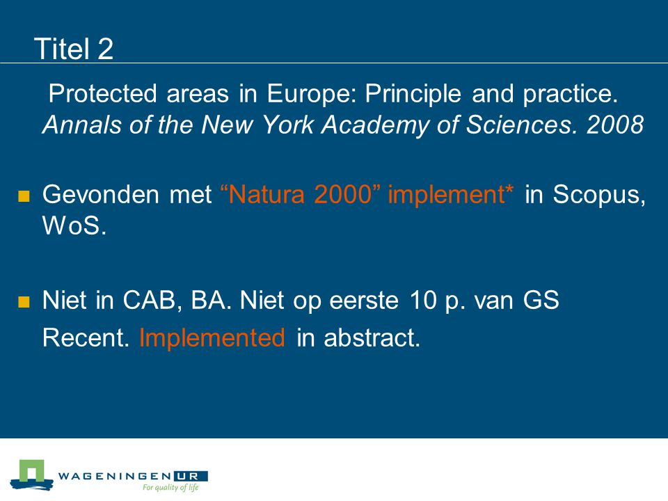 Titel 3 Implementing EU biodiversity policy: UK experiences.