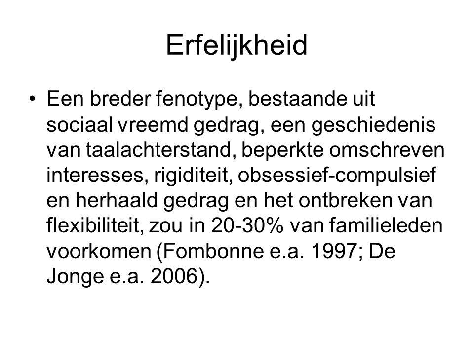 Erfelijkheid Een breder fenotype, bestaande uit sociaal vreemd gedrag, een geschiedenis van taalachterstand, beperkte omschreven interesses, rigiditei