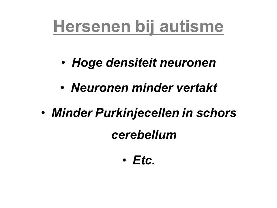 Hersenen bij autisme Hoge densiteit neuronen Neuronen minder vertakt Minder Purkinjecellen in schors cerebellum Etc.
