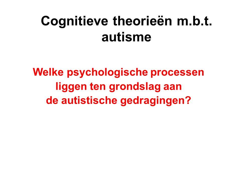 Cognitieve theorieën m.b.t. autisme Welke psychologische processen liggen ten grondslag aan de autistische gedragingen?