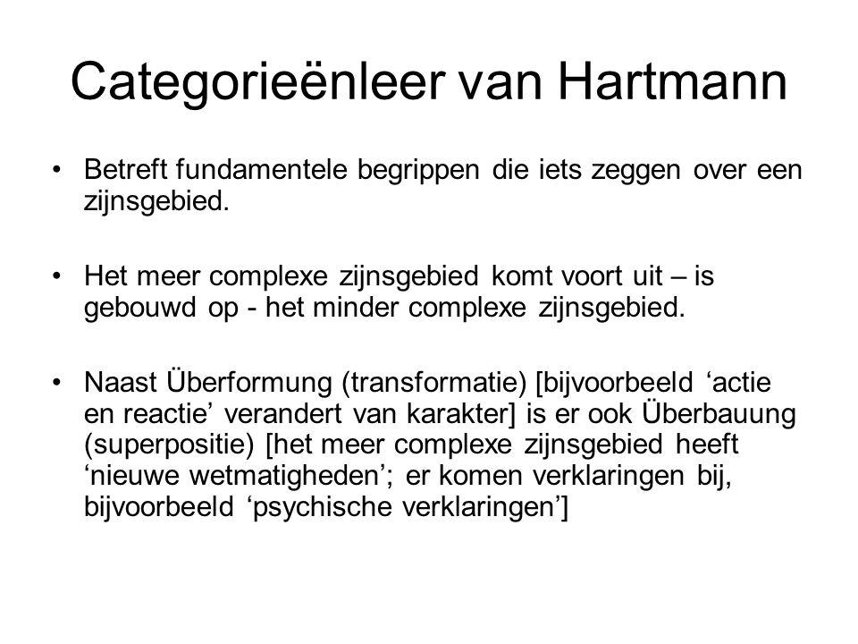 Categorieënleer van Hartmann Betreft fundamentele begrippen die iets zeggen over een zijnsgebied. Het meer complexe zijnsgebied komt voort uit – is ge