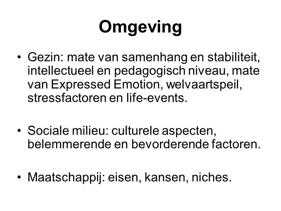 Omgeving Gezin: mate van samenhang en stabiliteit, intellectueel en pedagogisch niveau, mate van Expressed Emotion, welvaartspeil, stressfactoren en l