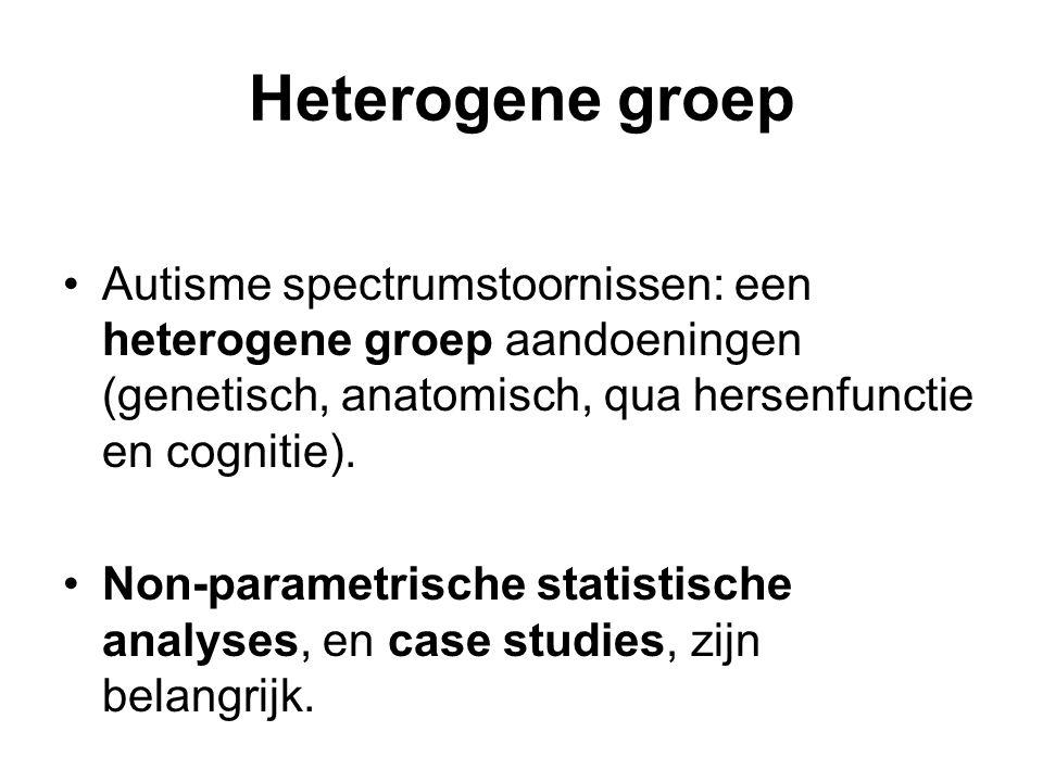 Heterogene groep Autisme spectrumstoornissen: een heterogene groep aandoeningen (genetisch, anatomisch, qua hersenfunctie en cognitie). Non-parametris