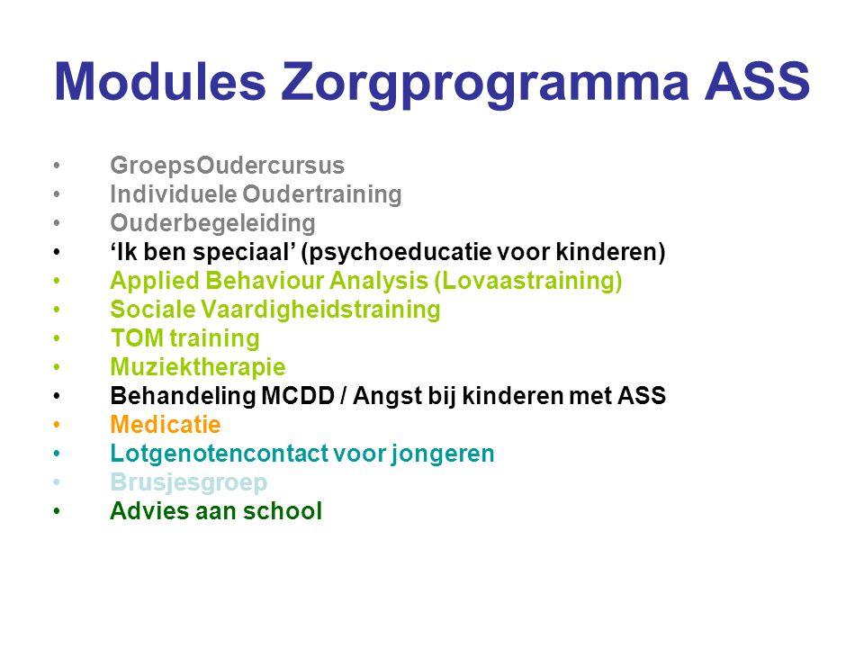Modules Zorgprogramma ASS GroepsOudercursus Individuele Oudertraining Ouderbegeleiding 'Ik ben speciaal' (psychoeducatie voor kinderen) Applied Behavi