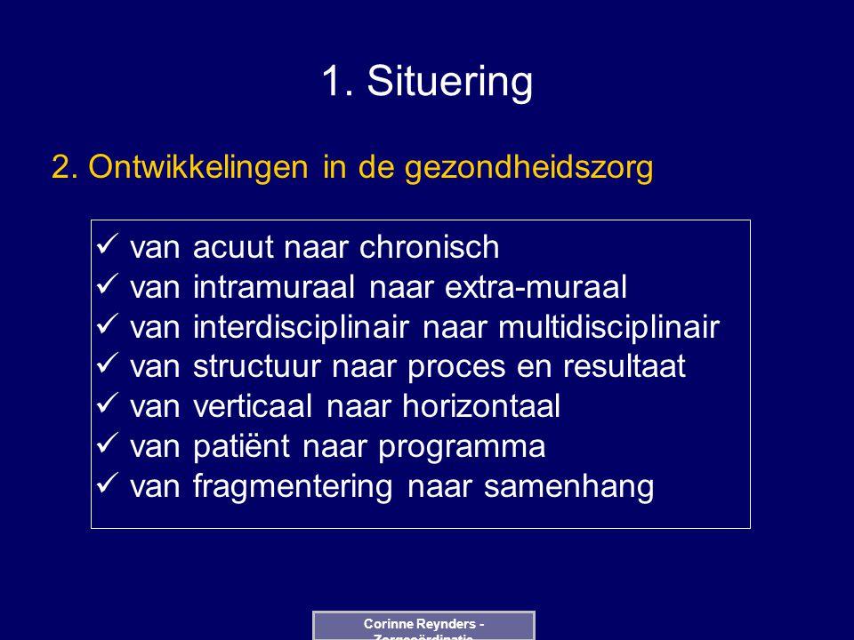 1. Situering 2. Ontwikkelingen in de gezondheidszorg van acuut naar chronisch van intramuraal naar extra-muraal van interdisciplinair naar multidiscip