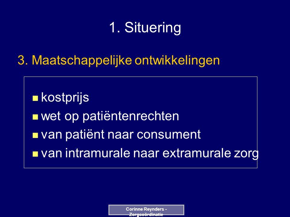 1. Situering 3. Maatschappelijke ontwikkelingen kostprijs wet op patiëntenrechten van patiënt naar consument van intramurale naar extramurale zorg Cor