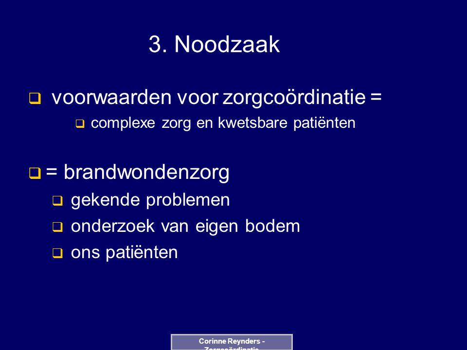 3. Noodzaak  voorwaarden voor zorgcoördinatie =  complexe zorg en kwetsbare patiënten  = brandwondenzorg  gekende problemen  onderzoek van eigen