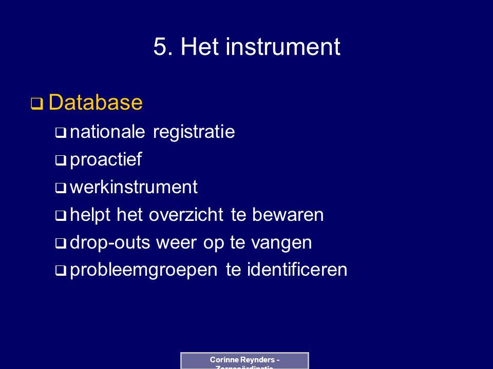 5. Het instrument  Database  nationale registratie  proactief  werkinstrument  helpt het overzicht te bewaren  drop-outs weer op te vangen  pro