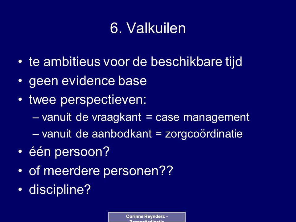 6. Valkuilen te ambitieus voor de beschikbare tijd geen evidence base twee perspectieven: –vanuit de vraagkant = case management –vanuit de aanbodkant