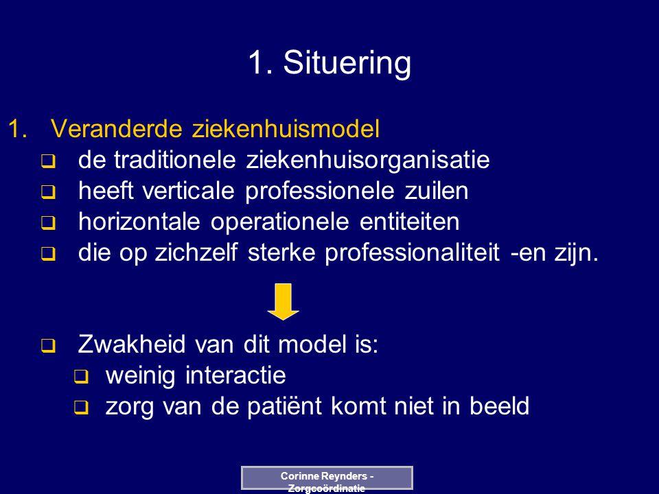 1. Situering  Veranderde ziekenhuismodel  de traditionele ziekenhuisorganisatie  heeft verticale professionele zuilen  horizontale operationele e