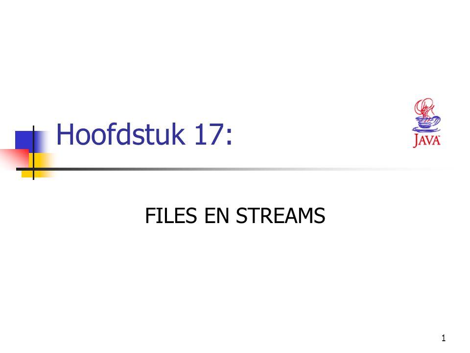 52 // output information if name is a file 53 if ( name.isFile() ) { 54 55 // append contents of file to outputArea 56 try { 57 BufferedReader input = new BufferedReader( 58 new FileReader( name ) ); 59 StringBuffer buffer = new StringBuffer(); 60 String text; 61 outputArea.append( \n\n ); 62 63 while ( ( text = input.readLine() ) != null ) 64 buffer.append( text + \n ); 65 66 outputArea.append( buffer.toString() ); 67 } 68 69 // process file processing problems 70 catch ( IOException ioException ) { 71 JOptionPane.showMessageDialog( this, FILE ERROR , 72 FILE ERROR , JOptionPane.ERROR_MESSAGE ); 73 } 74 75 } // end if 76 Test of de ingegeven naam een file is Creëer een BufferedReader om de gegevens van de file te lezen Lees de tekst regel per regel tot het einde van de file en plaats de inhoud ervan in buffer