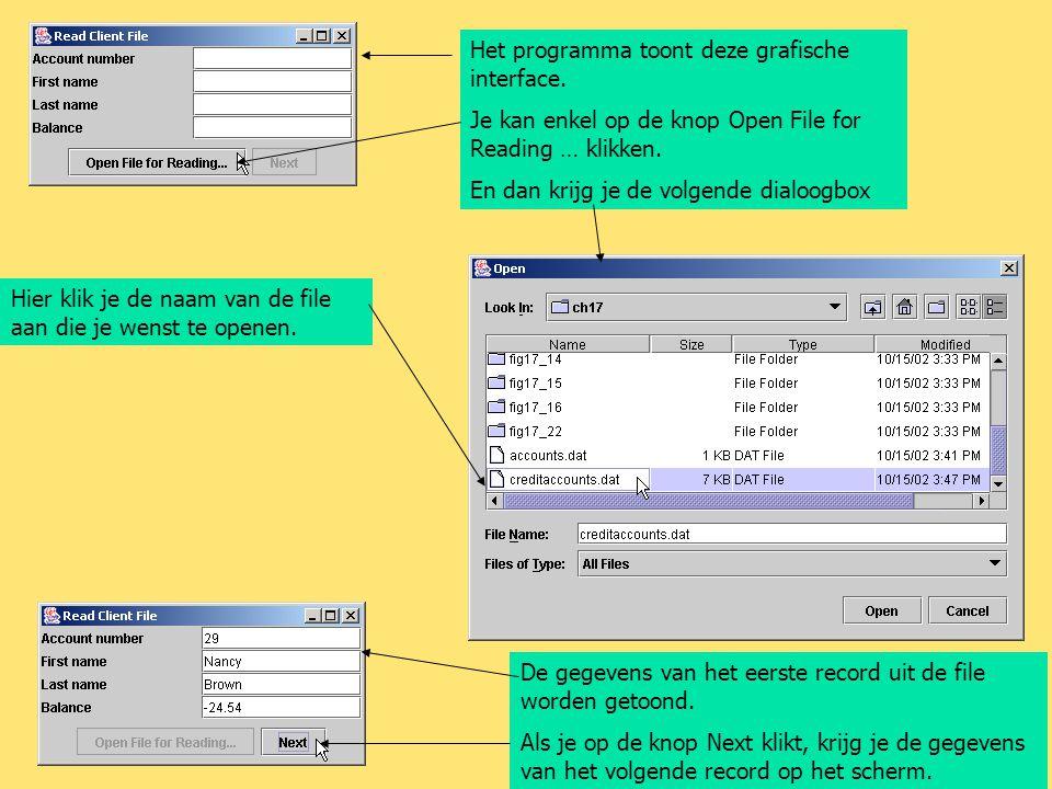 Het programma toont deze grafische interface. Je kan enkel op de knop Open File for Reading … klikken. En dan krijg je de volgende dialoogbox Hier kli