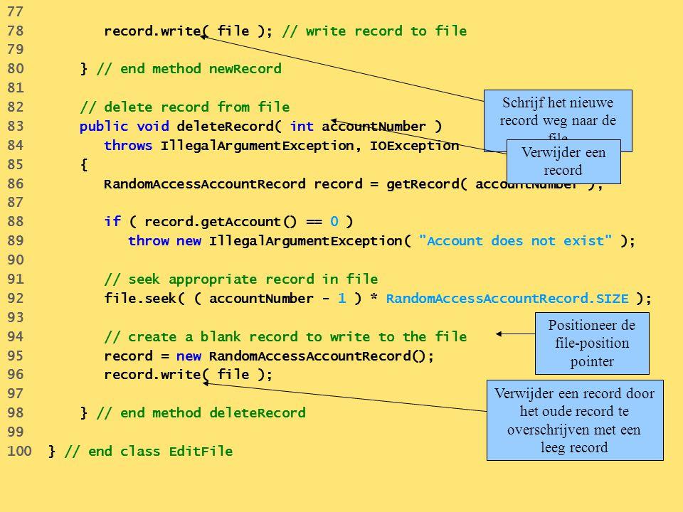 77 78 record.write( file ); // write record to file 79 80 } // end method newRecord 81 82 // delete record from file 83 public void deleteRecord( int