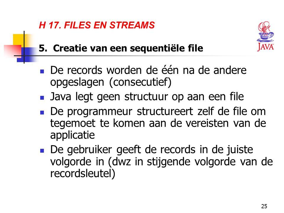 25 H 17. FILES EN STREAMS 5. Creatie van een sequentiële file De records worden de één na de andere opgeslagen (consecutief) Java legt geen structuur