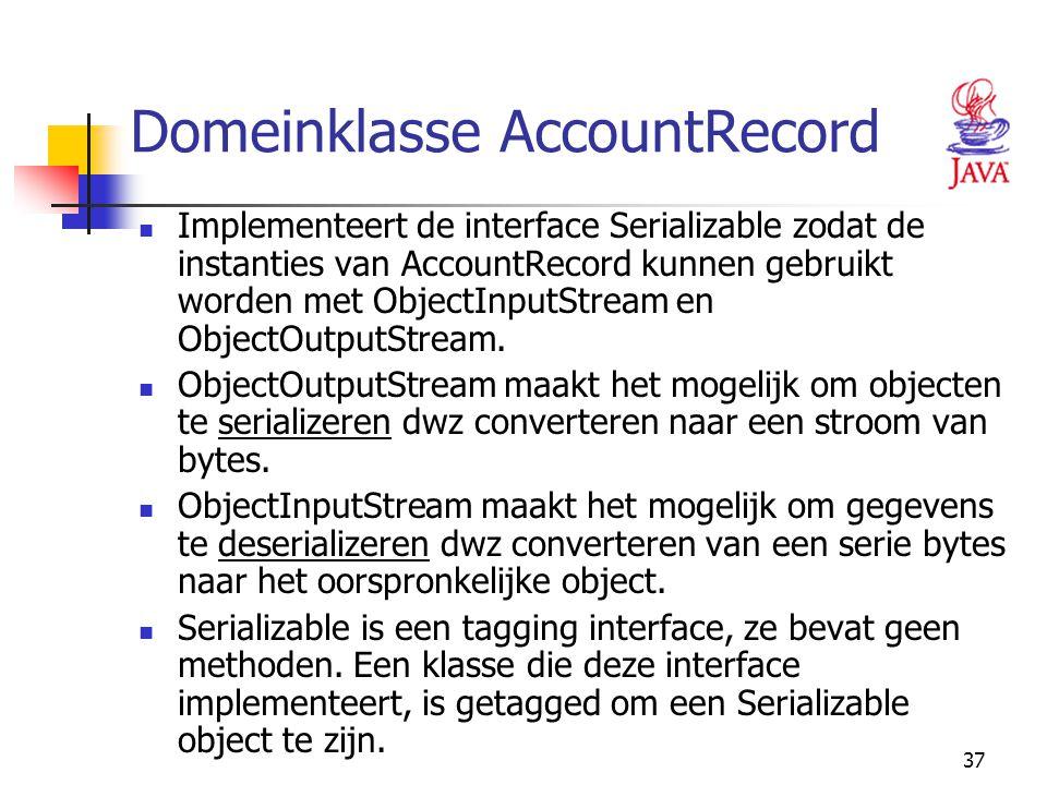 37 Domeinklasse AccountRecord Implementeert de interface Serializable zodat de instanties van AccountRecord kunnen gebruikt worden met ObjectInputStre