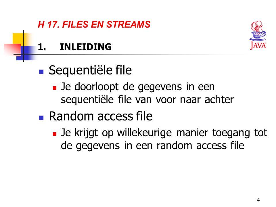 46 // write a record to specified RandomAccessFile 47 public void write( RandomAccessFile file ) throws IOException 48 { 49 file.writeInt( getAccount() ); 50 writeName( file, getFirstName() ); 51 writeName( file, getLastName() ); 52 file.writeDouble( getBalance() ); 53 } 54 55 // write a name to file; maximum of 15 characters 56 private void writeName( RandomAccessFile file, String name ) 57 throws IOException 58 { 59 StringBuffer buffer = null; 60 61 if ( name != null ) 62 buffer = new StringBuffer( name ); 63 else 64 buffer = new StringBuffer( 15 ); 65 66 buffer.setLength( 15 ); 67 file.writeChars( buffer.toString() ); 68 } 69 70 } // end class RandomAccessAccountRecord Methode write schrijft één record weg naar een instantie van de klasse RandomAccessFile Methode writeInt schrijft één geheel getal weg Methode writeDouble schrijft één gebroken getal met dubbele precisie weg Methode writeName schrijft een string weg naar een file Methode writeChars schrijft een string weg