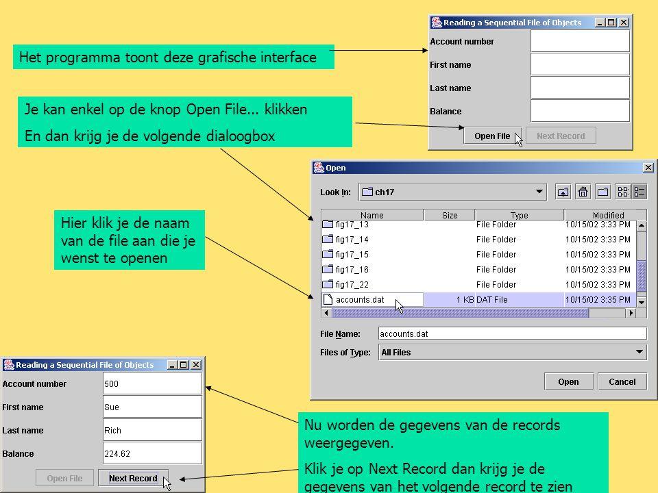 Het programma toont deze grafische interface Je kan enkel op de knop Open File... klikken En dan krijg je de volgende dialoogbox Hier klik je de naam