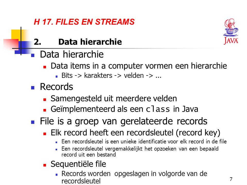 7 H 17. FILES EN STREAMS 2.Data hierarchie Data hierarchie Data items in a computer vormen een hierarchie Bits -> karakters -> velden ->... Records Sa