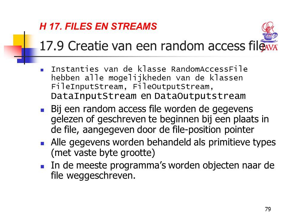 79 H 17. FILES EN STREAMS 17.9 Creatie van een random access file Instanties van de klasse RandomAccessFile hebben alle mogelijkheden van de klassen F
