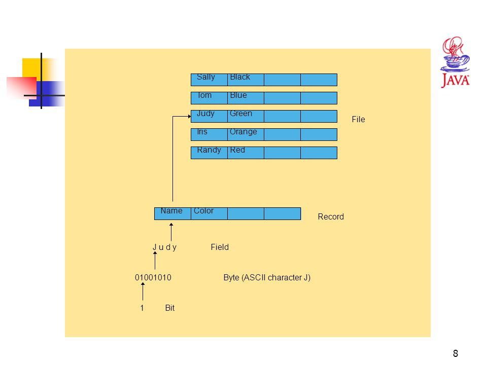 8 Fig. 17.1 Data hierarchy RandyRed 1 01001010 J u d y NameColor SallyBlack TomBlue JudyGreen IrisOrange File Record Field Byte (ASCII character J) Bi