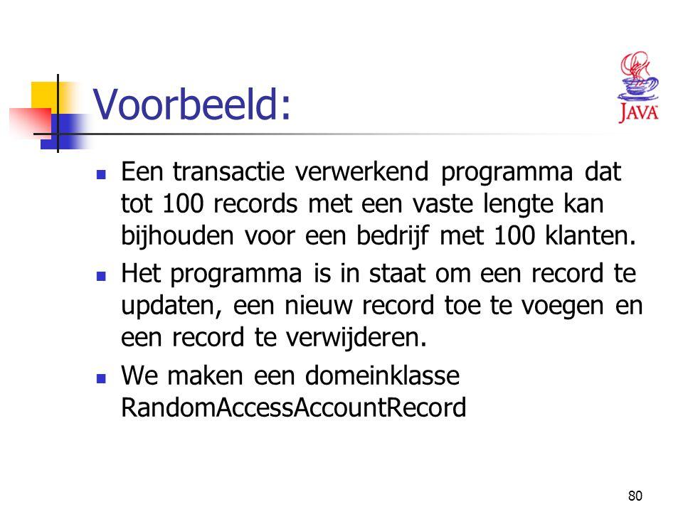 80 Voorbeeld: Een transactie verwerkend programma dat tot 100 records met een vaste lengte kan bijhouden voor een bedrijf met 100 klanten. Het program