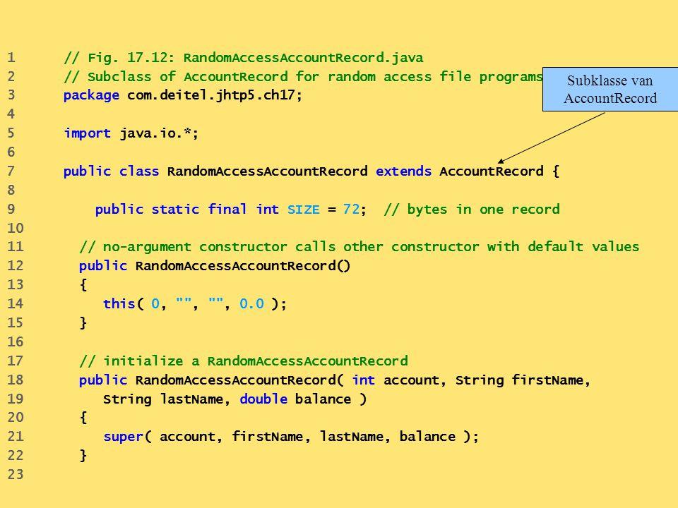 1 // Fig. 17.12: RandomAccessAccountRecord.java 2 // Subclass of AccountRecord for random access file programs. 3 package com.deitel.jhtp5.ch17; 4 5 i