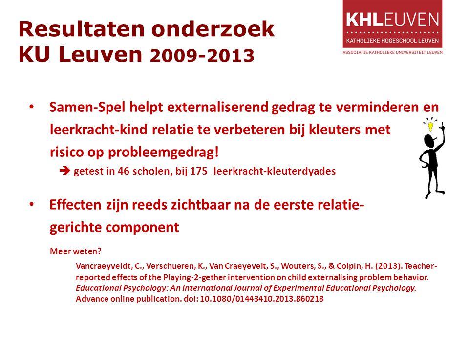 Resultaten onderzoek KU Leuven 2009-2013 Samen-Spel helpt externaliserend gedrag te verminderen en leerkracht-kind relatie te verbeteren bij kleuters