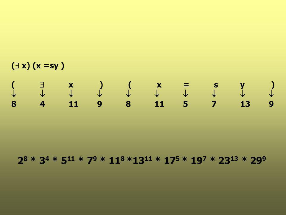 (  x) (x =sy )   8411981157139 2 8 * 3 4 * 5 11 * 7 9 * 11 8 *13 11 * 17 5 * 19 7 * 23 13 * 29 9