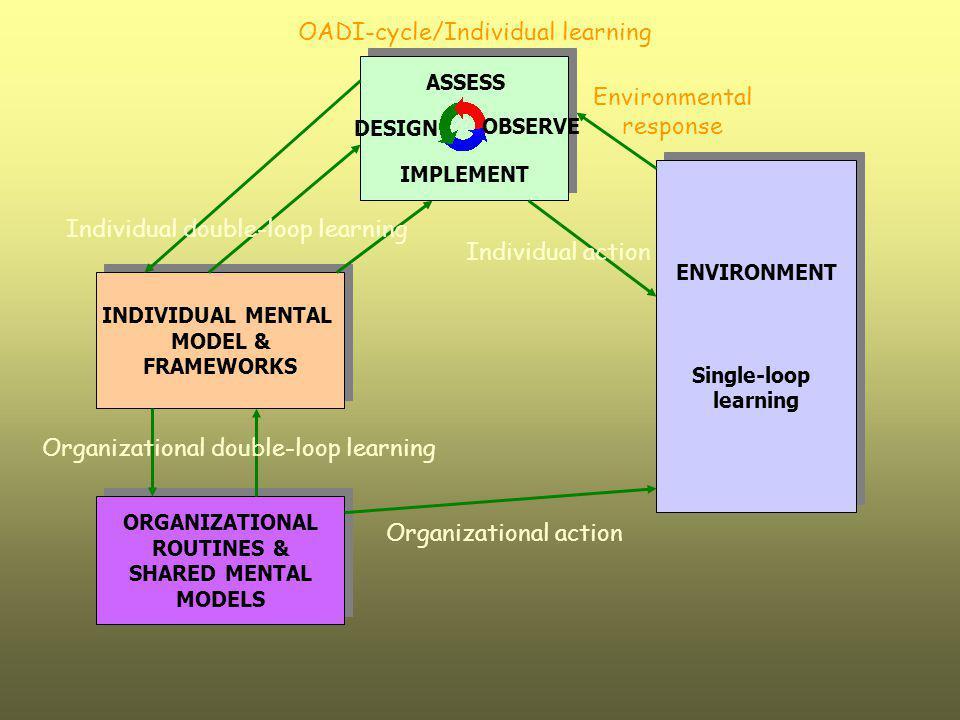ENVIRONMENT Single-loop learning ENVIRONMENT Single-loop learning Environmental response Individual action INDIVIDUAL MENTAL MODEL & FRAMEWORKS INDIVI