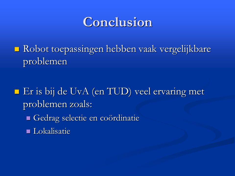 Conclusion Robot toepassingen hebben vaak vergelijkbare problemen Robot toepassingen hebben vaak vergelijkbare problemen Er is bij de UvA (en TUD) veel ervaring met problemen zoals: Er is bij de UvA (en TUD) veel ervaring met problemen zoals: Gedrag selectie en coördinatie Gedrag selectie en coördinatie Lokalisatie Lokalisatie