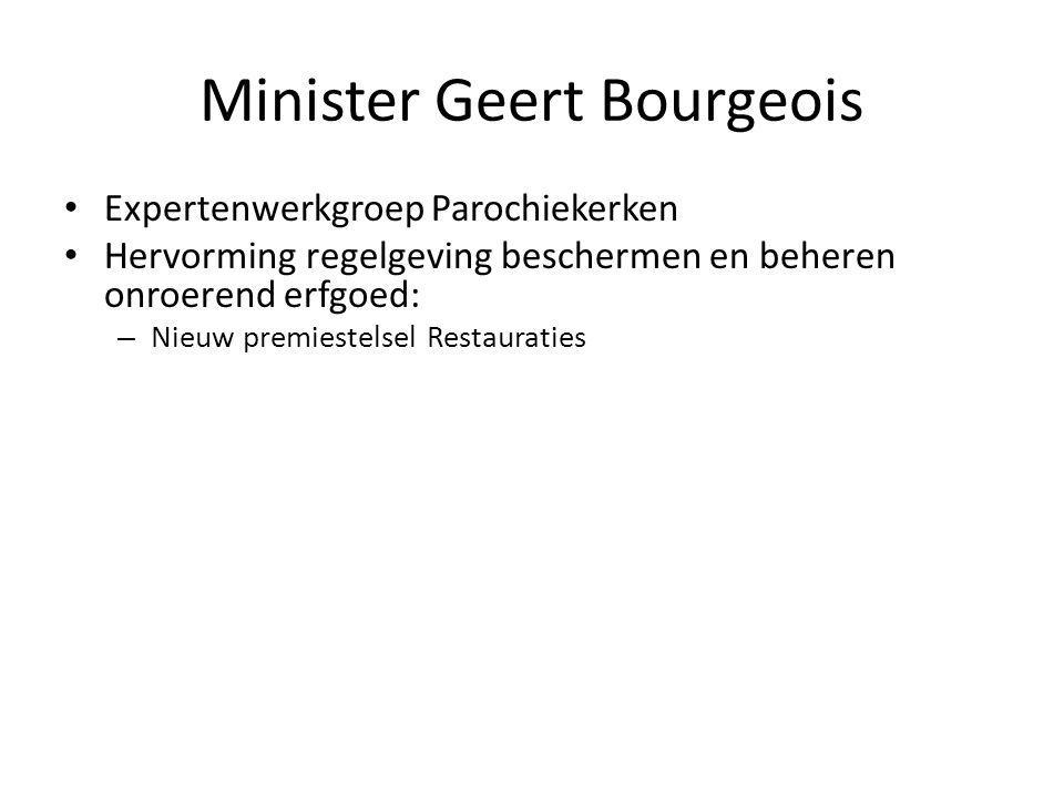 Minister Geert Bourgeois Expertenwerkgroep Parochiekerken Hervorming regelgeving beschermen en beheren onroerend erfgoed: – Nieuw premiestelsel Restauraties