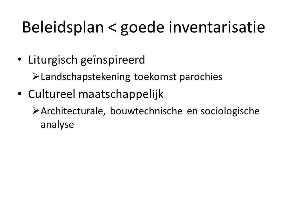 Beleidsplan < goede inventarisatie Liturgisch geïnspireerd  Landschapstekening toekomst parochies Cultureel maatschappelijk  Architecturale, bouwtechnische en sociologische analyse