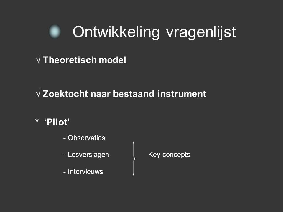 √ Theoretisch model - Definiering van beide assen √ Zoektocht naar bestaand instrument Ontwikkeling vragenlijst