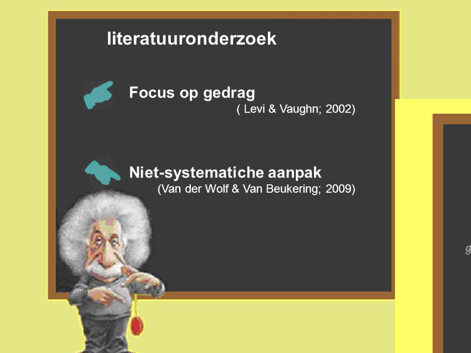 literatuuronderzoek Focus op gedrag ( Levi & Vaughn; 2002) Niet-systematiche aanpak (Van der Wolf & Van Beukering; 2009)