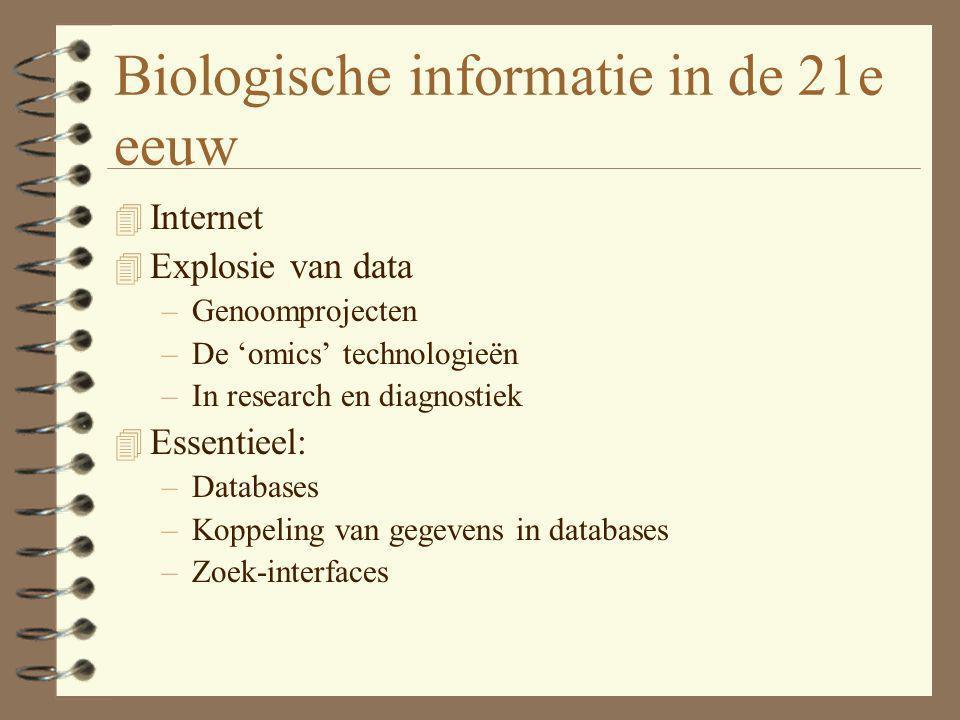 Soorten biologische informatie 4 Verschillende categorieën biologische informatie, elk met eigen databases 4 Mijns inziens beste verzameling databases met beste zoekinterface: NCBI Entrez 4 Ook een goede bron voor met name informatie over eiwitten: Expasy