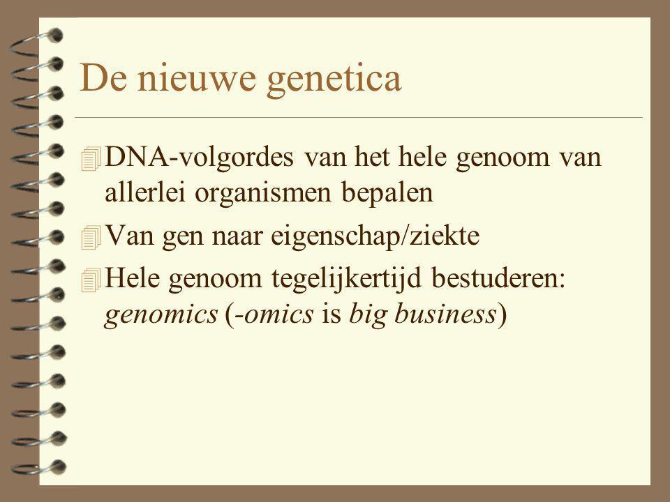 De nieuwe genetica 4 DNA-volgordes van het hele genoom van allerlei organismen bepalen 4 Van gen naar eigenschap/ziekte 4 Hele genoom tegelijkertijd b