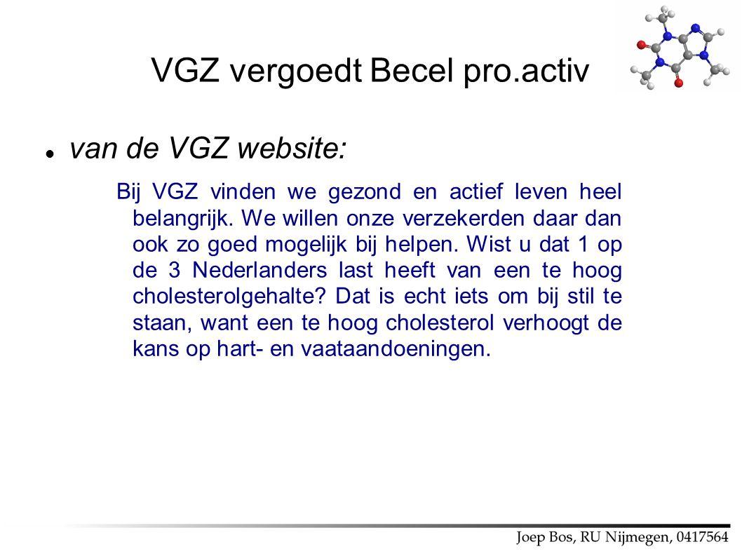 VGZ vergoedt Becel pro.activ van de VGZ website: Bij VGZ vinden we gezond en actief leven heel belangrijk. We willen onze verzekerden daar dan ook zo