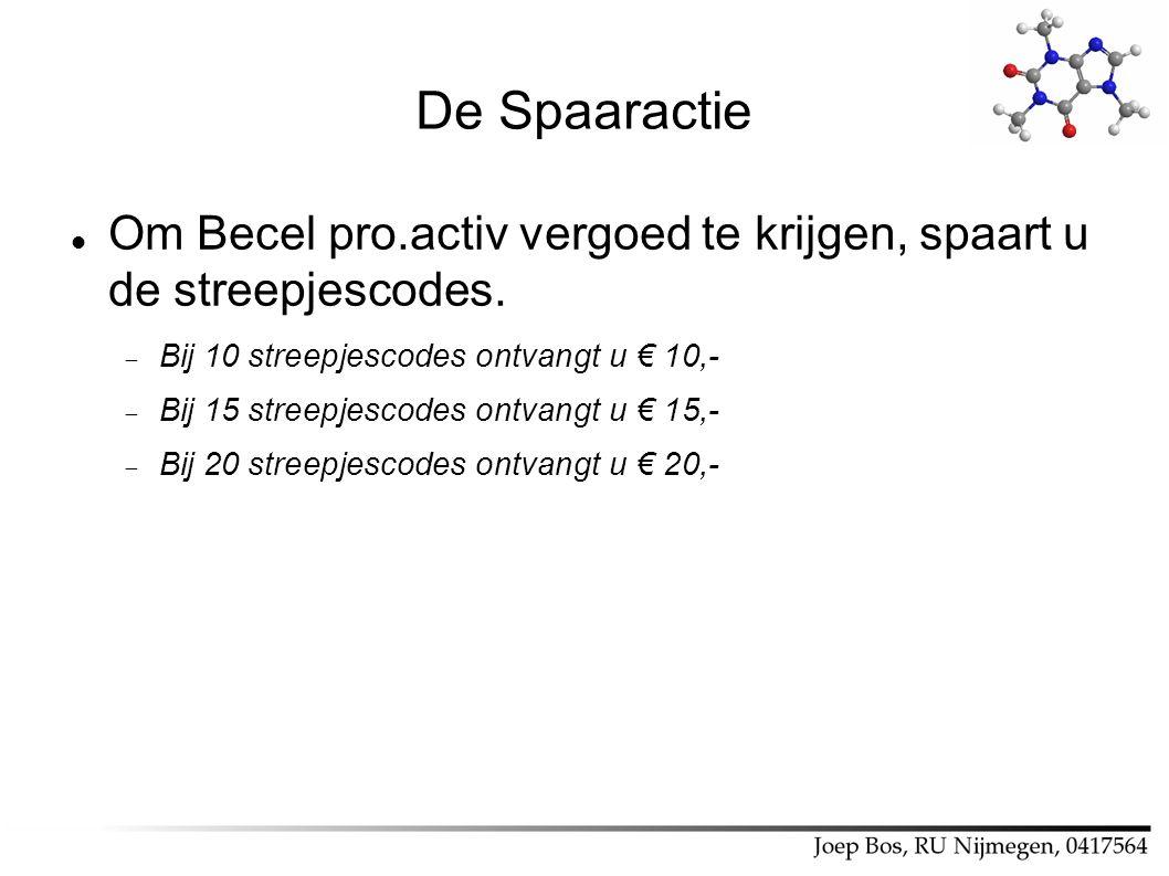 De Spaaractie Om Becel pro.activ vergoed te krijgen, spaart u de streepjescodes.  Bij 10 streepjescodes ontvangt u € 10,-  Bij 15 streepjescodes ont
